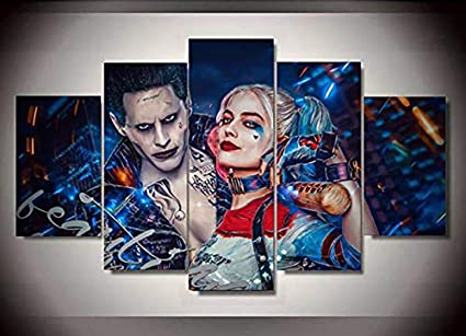 Amazon Com 5 Piece Wall Art Painting Suicide Squad Joker With