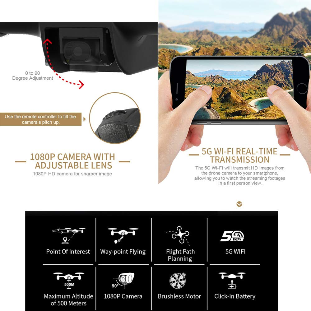 Cywulin RC Quadcopter Drone 1080P HD 5G WiFi FPV 120° Wide-Angle Camera Live Video, Brushless Motor, GPS Return Home, Follow Me, Long Control Range, Altitude Hold, Intelligent Modular Battery (Black) by Cywulin (Image #4)