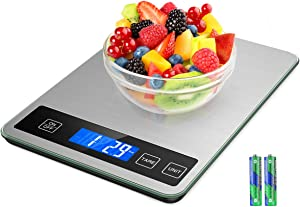 ORIA Kitchen Food Scale, 15kg/33lb Digital Kitchen Scale for Cooking Baking, Accurate Precision, Backlight LCD, Stainless Steel, Tempered Glass (Battery Included)