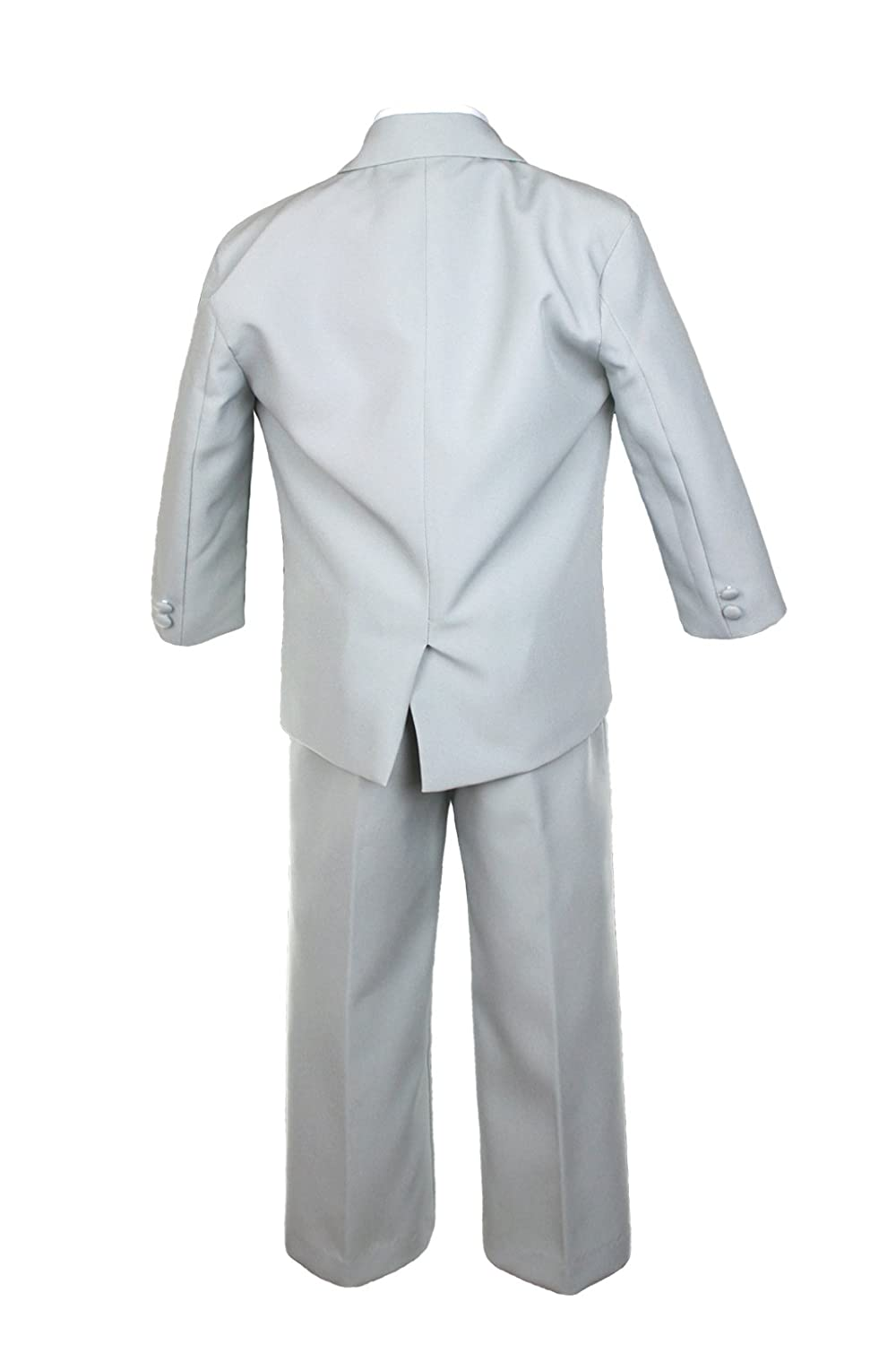 Unotux 6pc Boy Gray Suit with Satin Light Champagne Necktie Outfits Baby to Teen