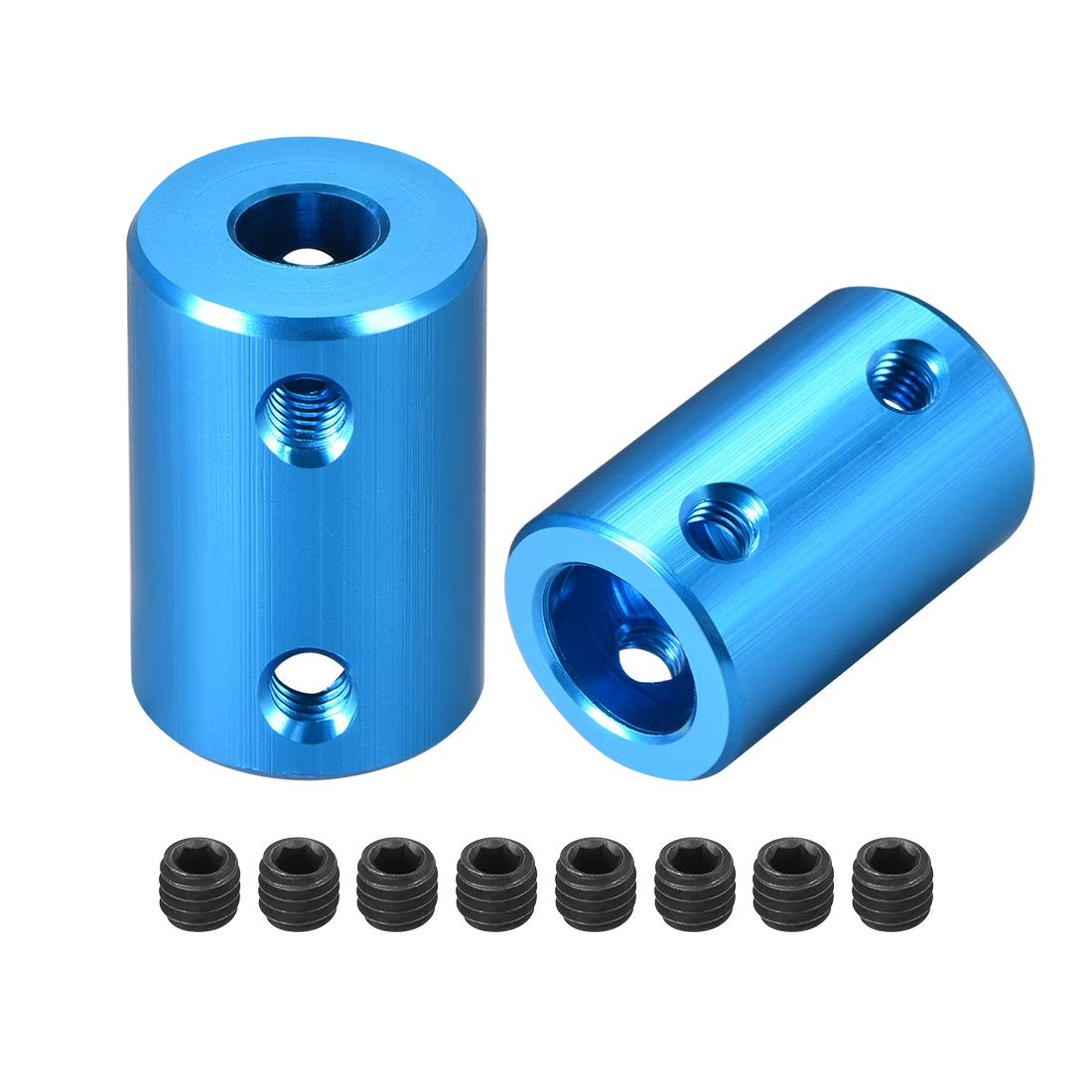 uxcell Shaft Coupling 6.35mm to 10mm Bore L25xD16 Robot Motor Wheel Rigid Coupler Connector Blue