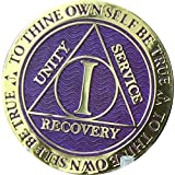 1 Year AA Medallion Reflex Purple Gold Plated Chip