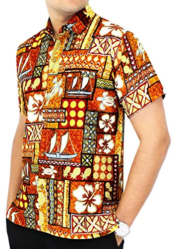 LA LEELA Button Down Summer Casual Tropical Pocket Hawaiian Aloha Beach Shirts for Men Luau Camp