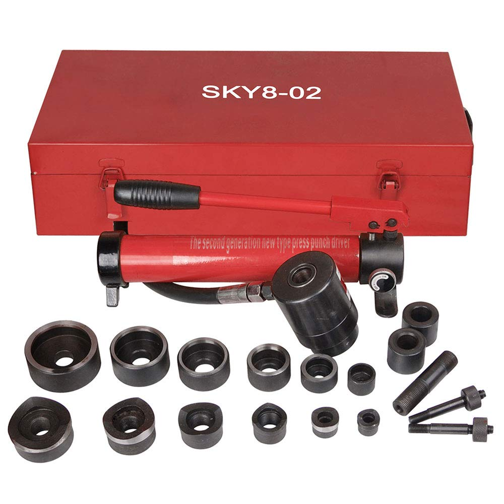 Pneumatic 10 Ton Air Hydraulic Knockout Punch Drive Hole Complete Set Metal Case 1/2 to 2 Dies by Yescom
