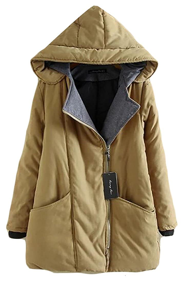 Pandapang Womens Plus Size Warm Hooded Oblique Zipper Parkas Jackets Coats