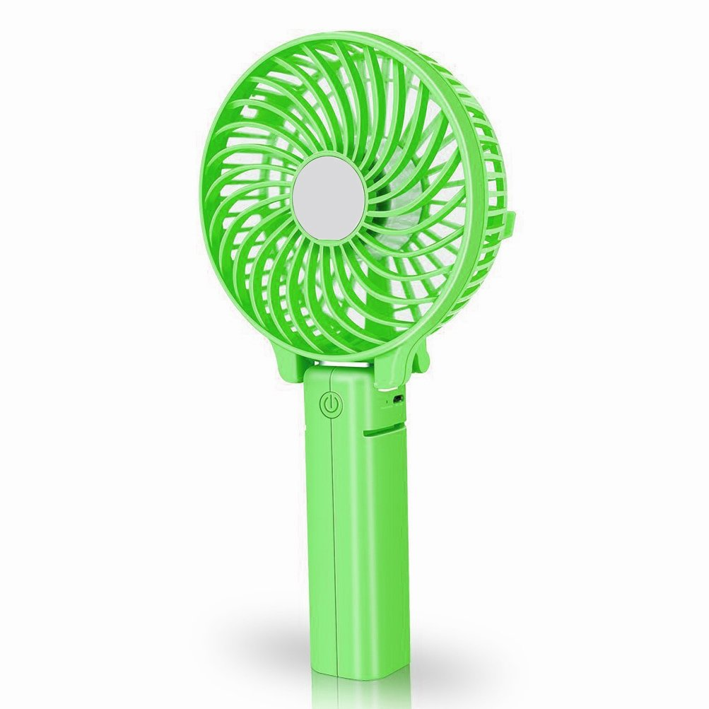 COOLEAD Mini Handheld Battery Fan Foldable Personal Fan with USB Rechargeable Battery Operated, Removable Clip, 3 Speeds Adjustable for Home, Outdoor, Travel,Stroller (Green)