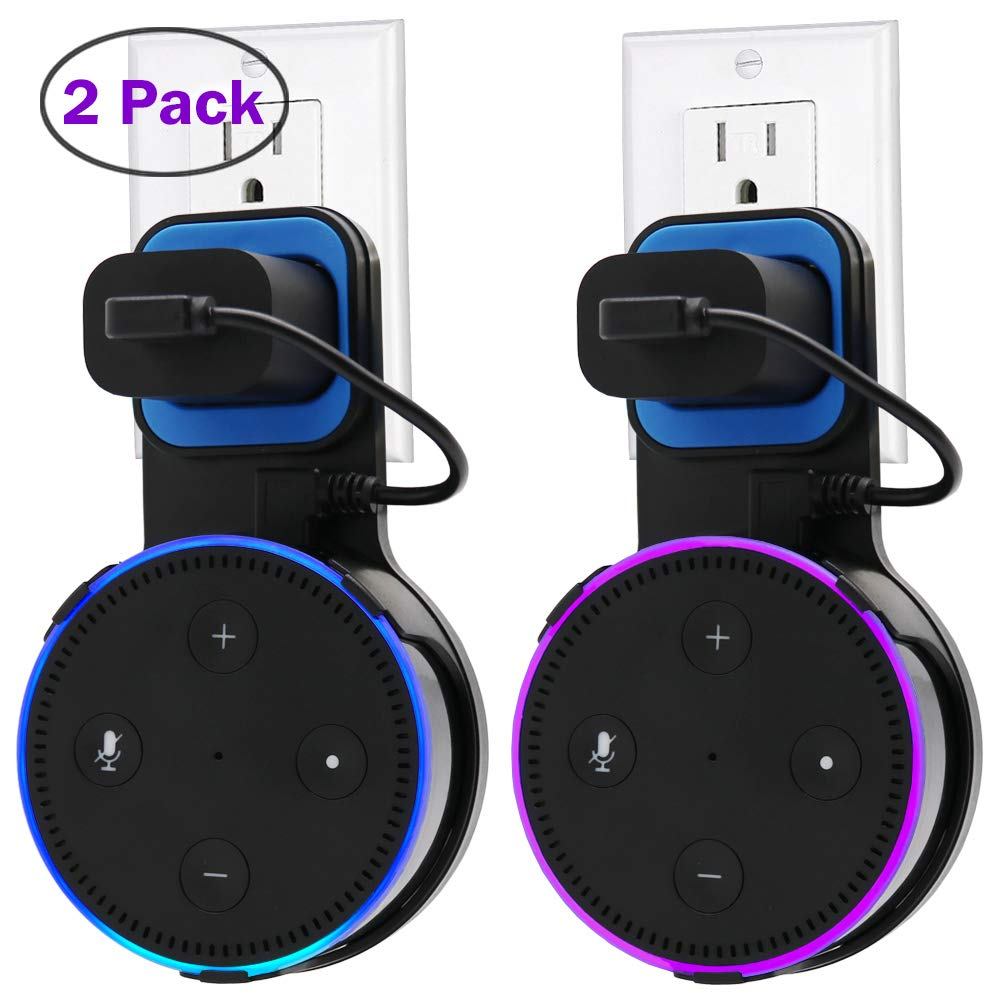 Echo Dot Wall Mount Case Holder Stand for Alexa Dot 2nd Generation DigitCont Space-Saving Hanger for Smart Home Speaker without Mess Wires or Screws-Short Charging Cable Included(2 Pack, Black &White) by TOOVREN