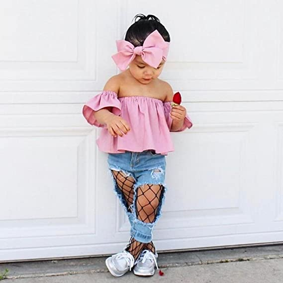 ba7d43bb6e45a Amazon.com  YANG-YI Baby Hot! Yang-Yi Fashion Summer Toddler Kids Baby Girl  Off Shoulder Ruffle T-Shirt Tops Clothes Outfits  Clothing