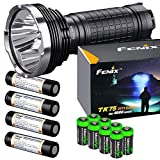 FENIX TK75 5100 Lumen 2018 Edition 4 CREE XHP35 HI LED rechargeable flashlight w/ 4X Fenix 18650 Batteries and 2 X EdisonBright battery carry cases bundle