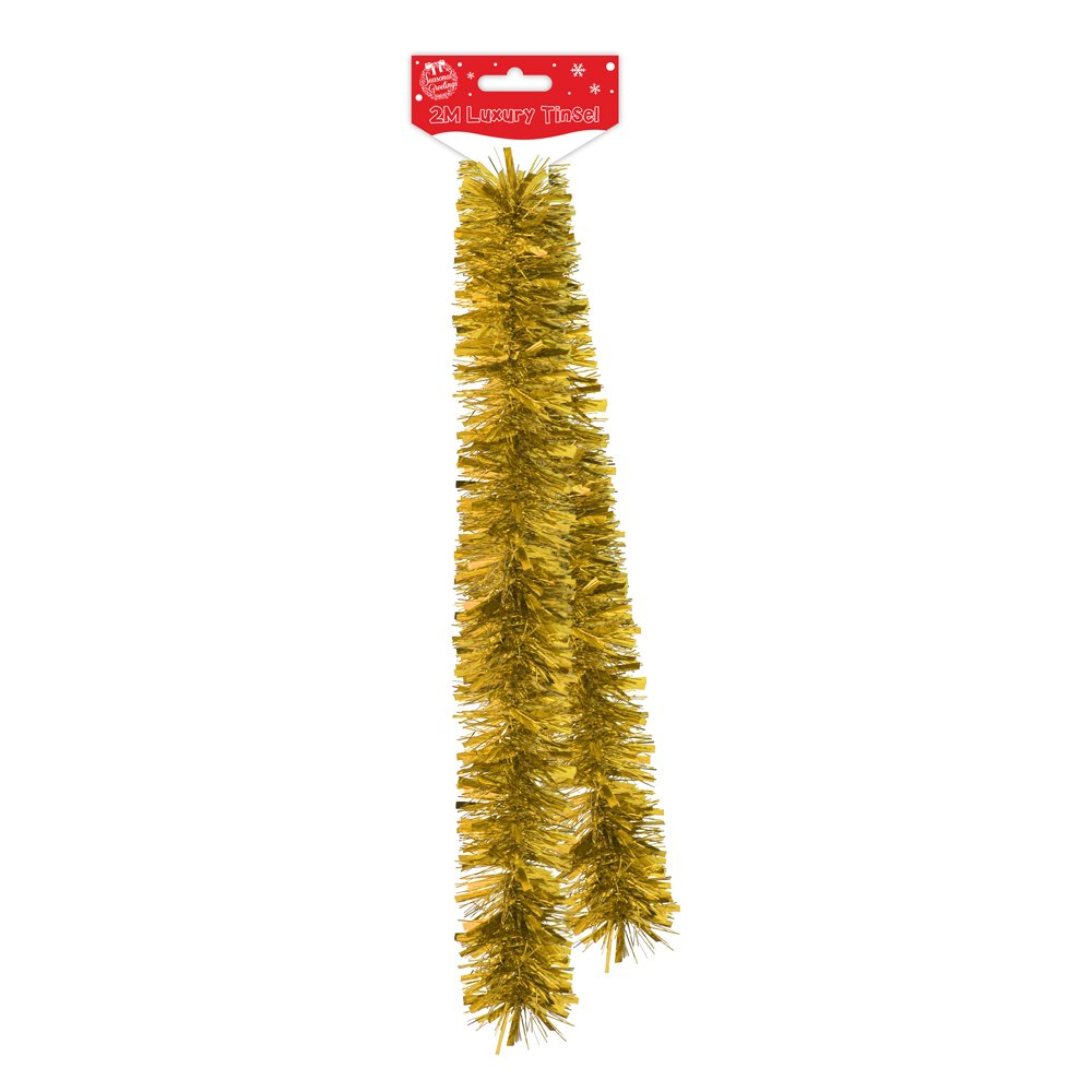 2m Luxury Thick Tinsel Christmas Tree Decoration Gold