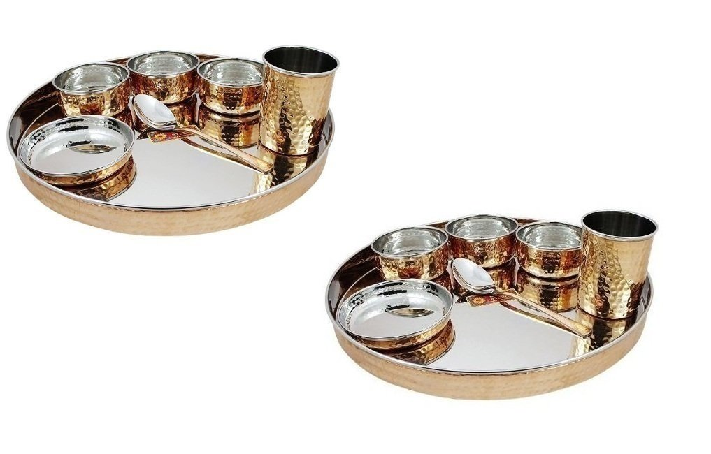 Pair of 2 Indian Dinnerware Stainless Steel Copper Traditional Dinner Set Thali Plate, Bowls, Glass And Spoon, Diameter 13 Inch for Ayurvedic Health Benefits. For Home, kitchen, Restaurants.