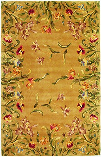 KAS Oriental Rugs Emerald Collection Tulip Garden Area Rug, 2' x 3', Gold