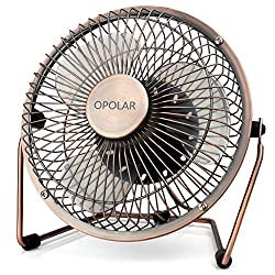 OPOLAR Desk Fan, Upgraded 6 Inch Blades, Ultra Quite USB Fan with Enhanced Airflow, Antique Metal Design, 360° Rotating Free Adjustment Personal Cooling Office Fan - One Setting