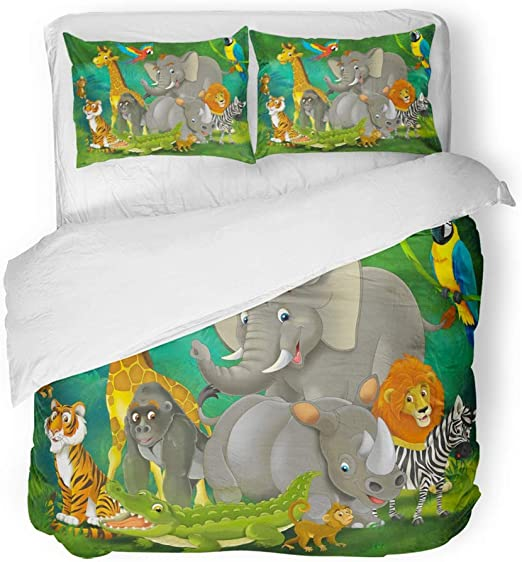 Animal Zoo Duvet Cover Bedding Set Twin Full Queen King Bed Pillow Case Wild New