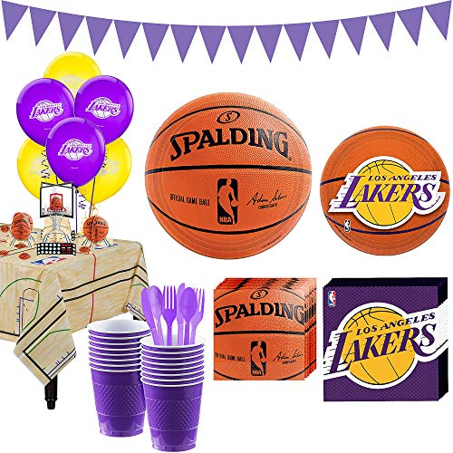 Party City Super Los Angeles Lakers Party Kit and Supplies for 16 Guests, Includes Decorations and Tableware ()