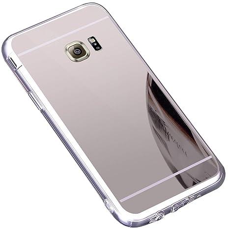 Funda Galaxy S7 Edge ,Carcasa Protectora [Trasera] de [Tpu] para Móvil En [Con Efecto Espejo] Ultra-Delgado Caras Cubierta Caso Espejo Funda Case ...