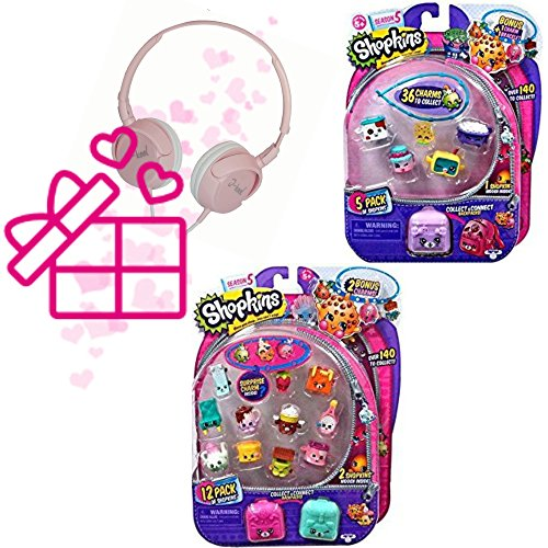 Shopkins Season 5 (1) 12 Pack and (1) 5 Pack with Bracelet Charms and Petkins Backpacks Styles and Figures Vary PLus I-kool Layback Pink Headphone The Ultimate Girls Gift Set