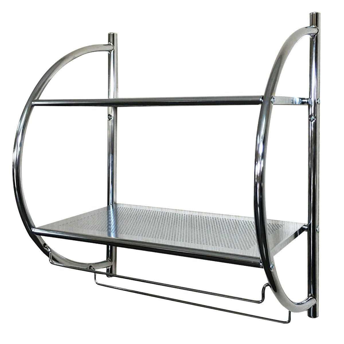 TANGKULA 2-Tier Shelf with Towel Bar Wall Mount Bathroom Toilet Organizer Storage Shelf