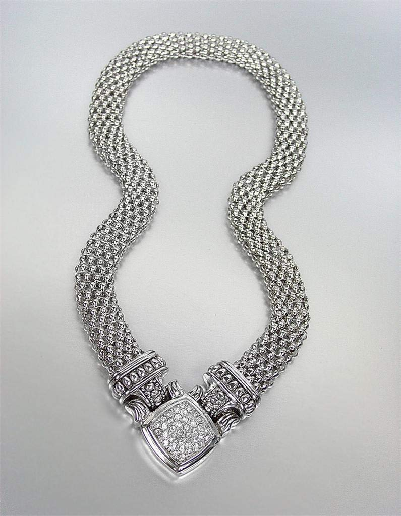 New Designer Inspired Silver Mesh Pave Cz Crystals Magnetic Clasp Necklace For Women