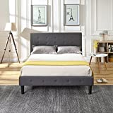 Classic Brands DeCoro Cambridge Upholstered Platform Bed | Headboard and Metal Frame with Wood Slat Support | Grey, King