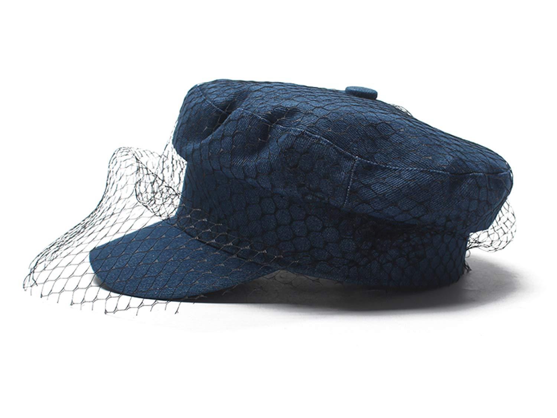 Glamaker Women's Elegant Classic Vintage Denim Veil Mesh Beret Hat Casquette Visors Peaked Cap Blue