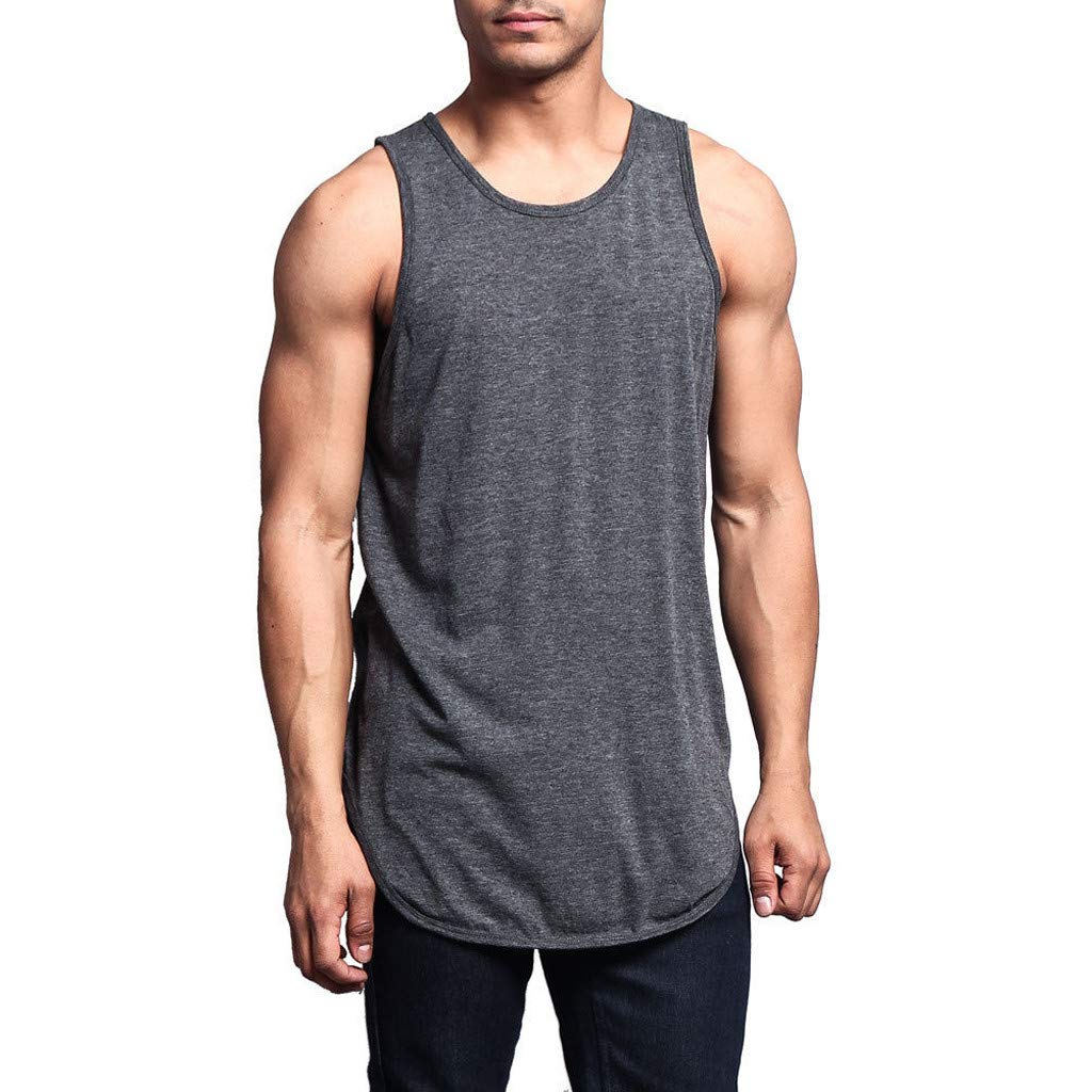 Sunyastor Men's Muscle Gym Workout Stringer Tank Tops Bodybuilding Fitness Basic Long Length Curved Hem Sleeveless T-Shirts Gray