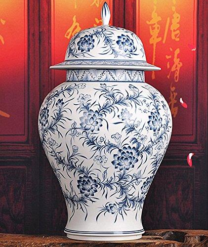 ALL DECOR Classic Asian Blue and White Ceramic Urn - 15.75