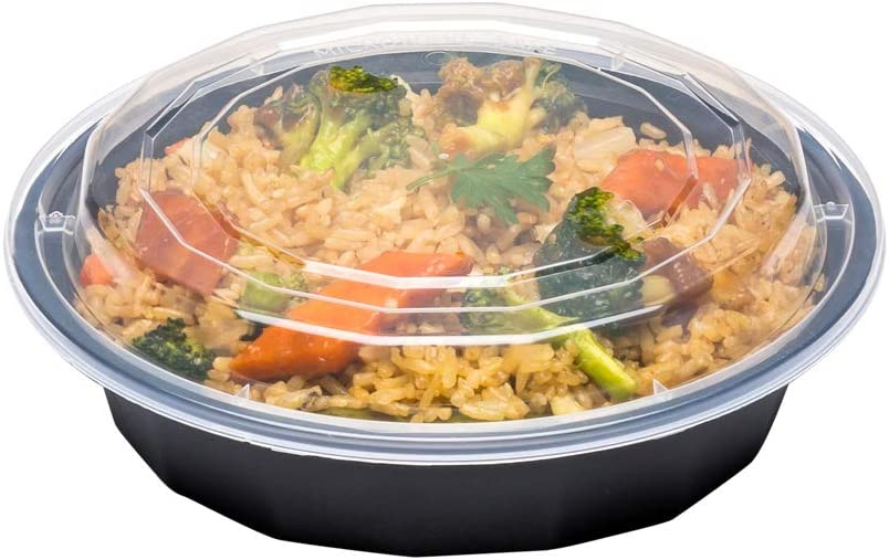 Asporto Microwavable To-Go Container - BPA Free PP Round Take Out Food Container with Clear Plastic Lid - Catering & Takeout - 24 oz - Black - Plastic - Disposable - 100ct Box - Restaurantware