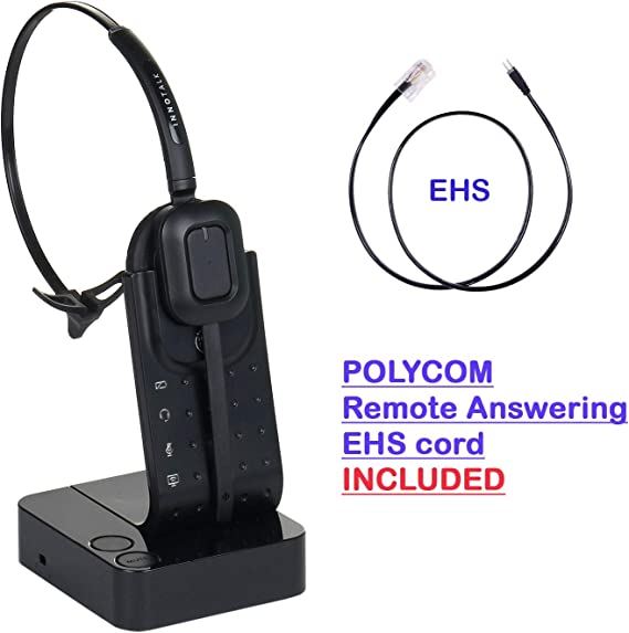Amazon Com Wireless Headset Compatible With Polycom Vvx300 Vvx310 Vvx400 Vvx410 Desk Office Phone Call Center Wireless Headset With Polycom Ehs Cord Bundle As Polycom Wireless Headset