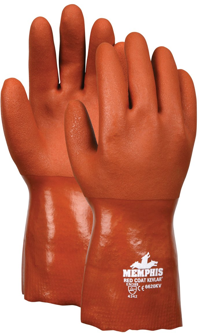 MCR Safety 6620KVL 10-Inch RedCoat PVC Double Dipped Seamless Kevlar/Cotton Plaited Liner Gloves with Gauntlet, Red, Large, 1-Pair by MCR Safety B009A4Y4OU