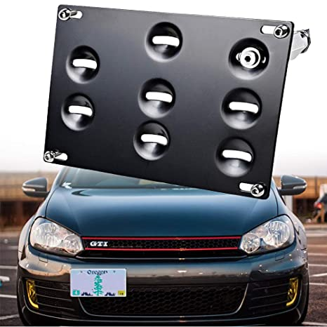 GTP Front Bumper Tow Hook License Plate Mounting Bracket Holder Relocator for VW 10-14