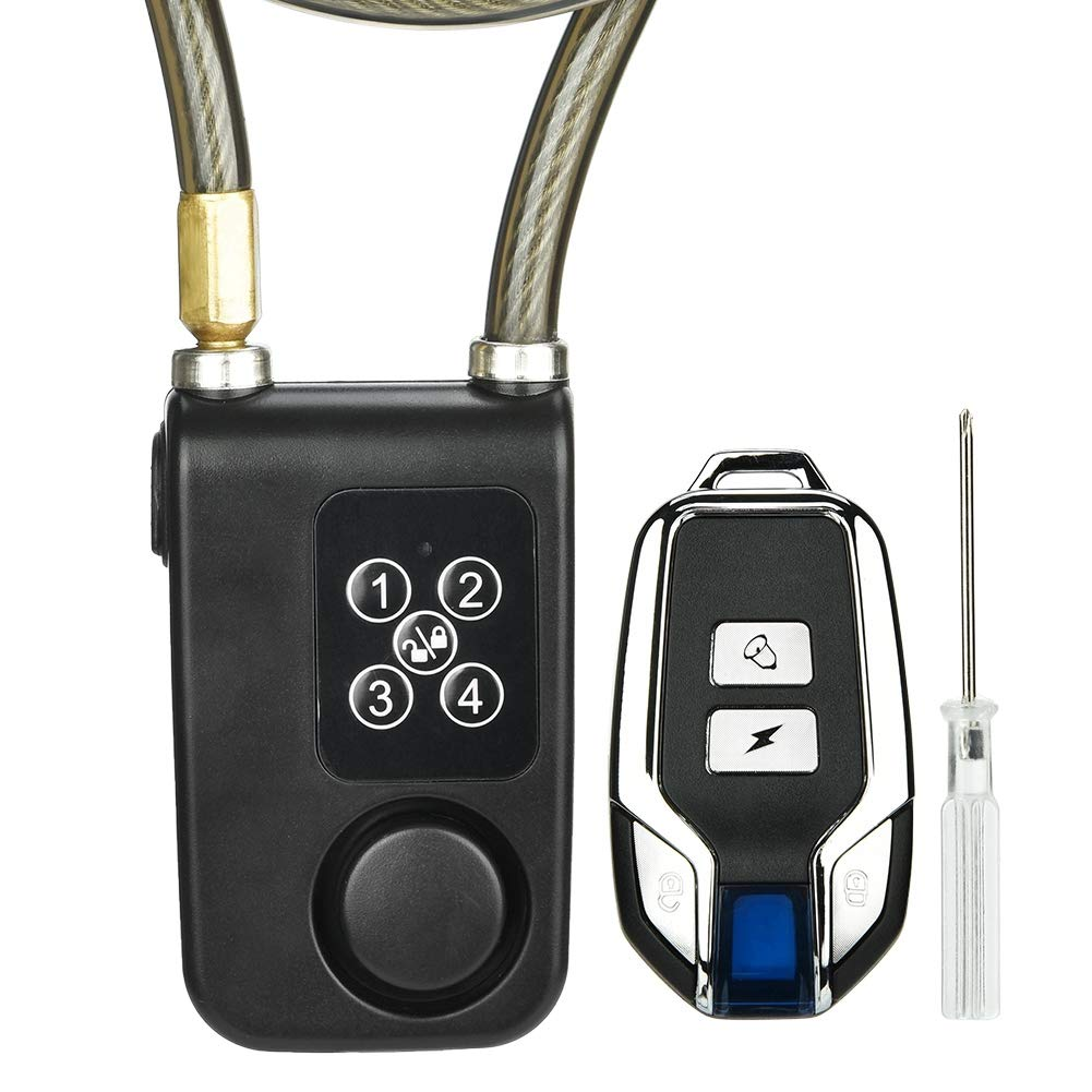 Oumij Bike Motorcycle Lock Sicurezza Cavo in Acciaio con Passanti Flex Cable 3 AAA N 7 Batterie IP55 Impermeabile e Antipolvere Antifurto Bike Locks per Interni ed Esterni