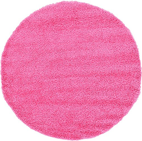 Unique Loom Solid Shag Collection Taffy Pink 6 ft Round Area Rug (6' x - Pink Round