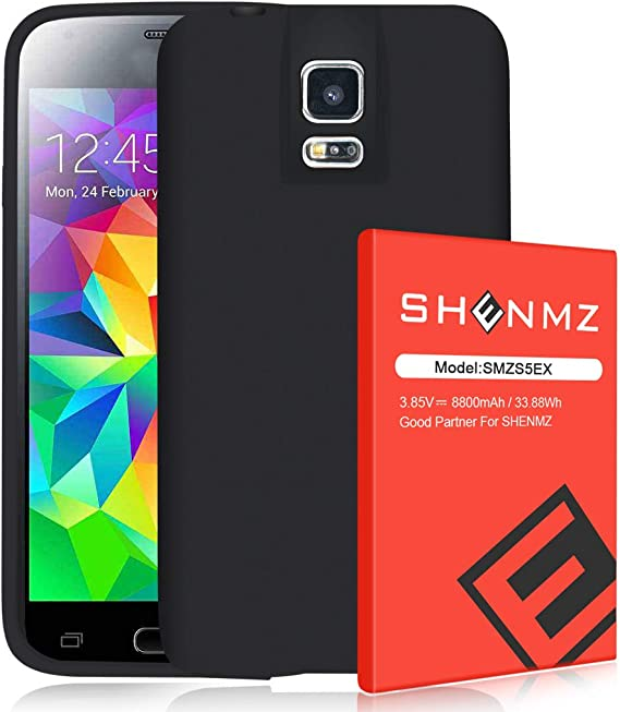 3800mAh SHENMZ Li-ion Replacement Battery for Samsung Galaxy S5 EB-BG900BBU SM-G900H SM-G900A SM-G900TR SM-G900P SM-G900T Sprint Upgraded SM-G900R U.S. Cellular T-Mobile Galaxy S5 Battery AT/&T