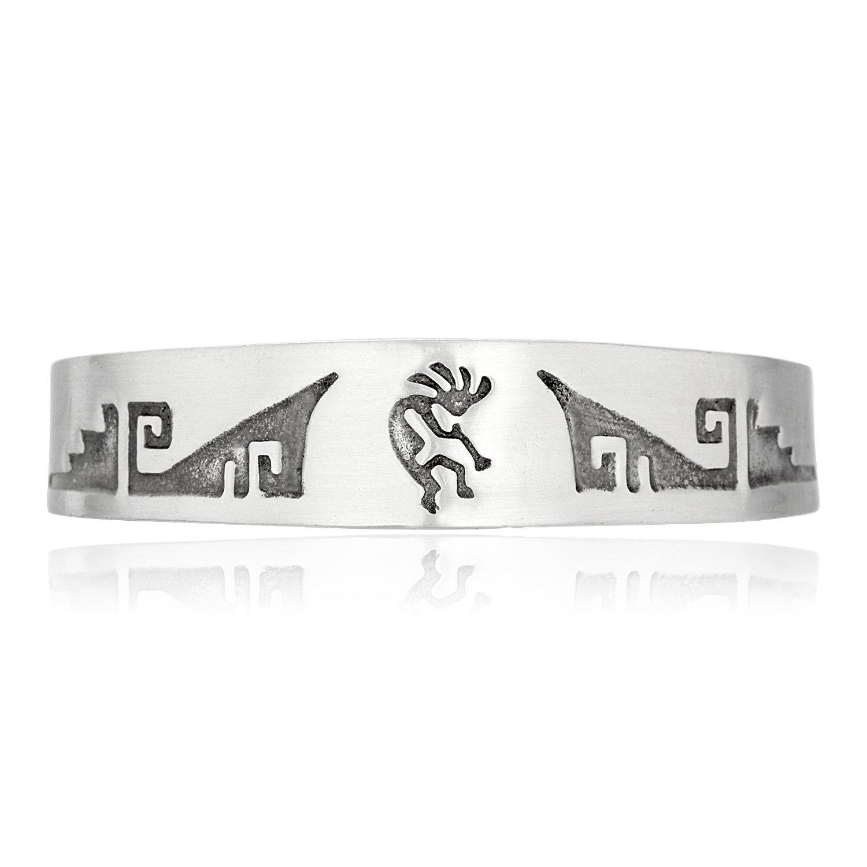 Dan's Jewelers Native American Indian Inspired Kokopelli Flutist Bracelet, Fine Pewter Jewelry