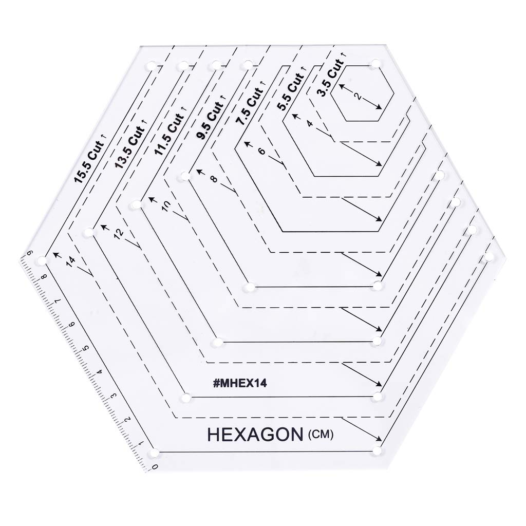 /Lote de 5/Piquer costura patchwork artesan/ía regla Manyo/ diferentes formas tri/ángulo//paralelogramo//trapezoidal//Hex/ágono