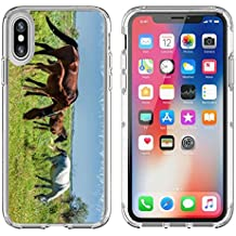 Luxlady Apple iPhone X Clear case Soft TPU Rubber Silicone Bumper Snap Cases iPhoneX IMAGE ID 30717326 Horses in the mountains equine nag hoss hack dobbin a solid hoofed plant eating domesticate