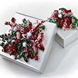 Candy Cane, Red & Green Curly Bows with Pom Poms - 24 bows