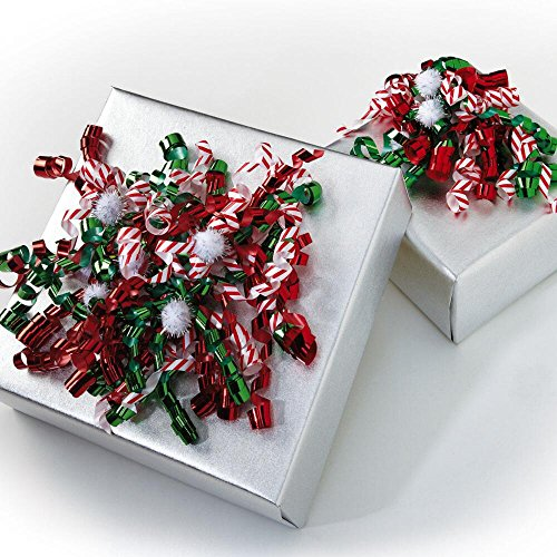 Candy Cane, Red & Green Curly Bows with Pom Poms - 24 bows by Current
