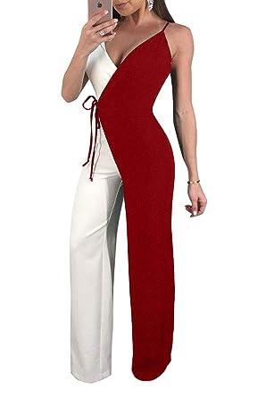 dcaa52e6f211 Combinaison Femme Eté Fashion Cocktail Party Combinaison Longue Elégante  Festive V Cou Sling sans Manches Couleurs