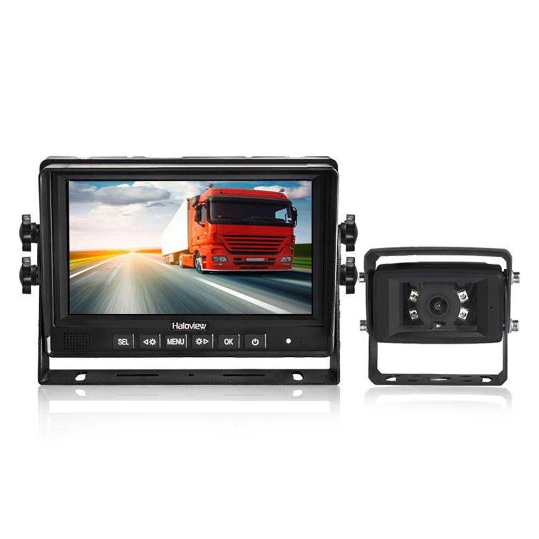 MC7601 Wolfwhoop 5558990295 Haloview MC7601 Backup Camera System Kit 7 LCD Reversing Monitor and IP69K Waterproof Rear View Camera for Truck//Trailer//Bus//RV//Pickups//Camper//Van//Farm Machine Car