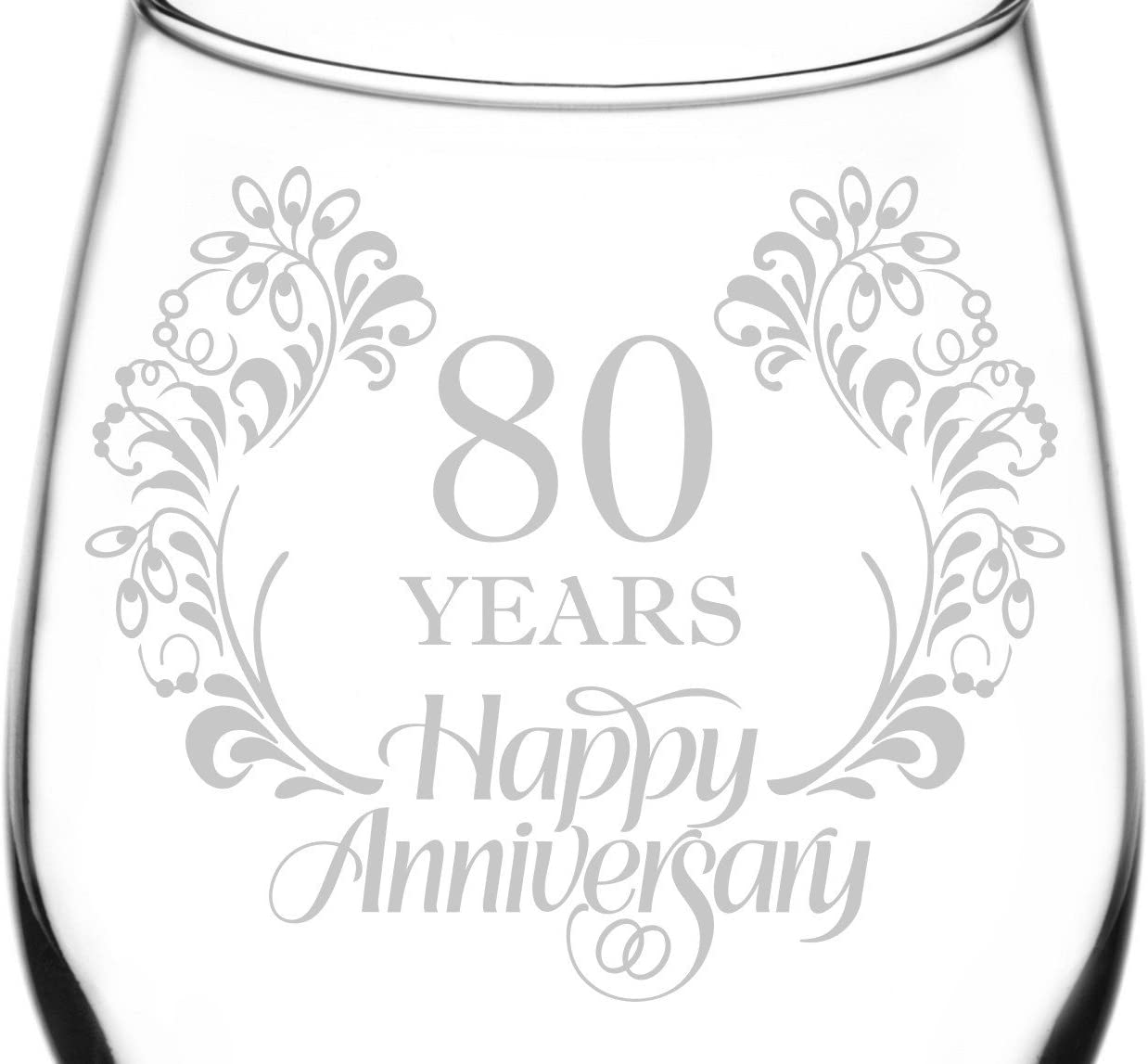 Novelty Present /& Idea Gifts 11 oz Laser Engraved Wine Glass Beautiful /& Elegant Floral Happy Anniversary Wedding Ring Inspired 35th