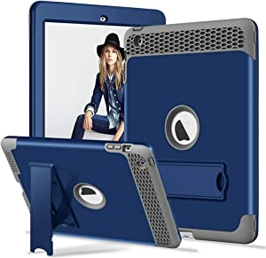Hocase iPad 4/3/2 Case with Built-in Kick Stand, Heavy Duty Protection Hard Plastic Cover+Shock Absorbent Silicone Rubber Bumper Protective Case for 9.7 iPad 4th/3rd/2nd Generation - Navy Blue