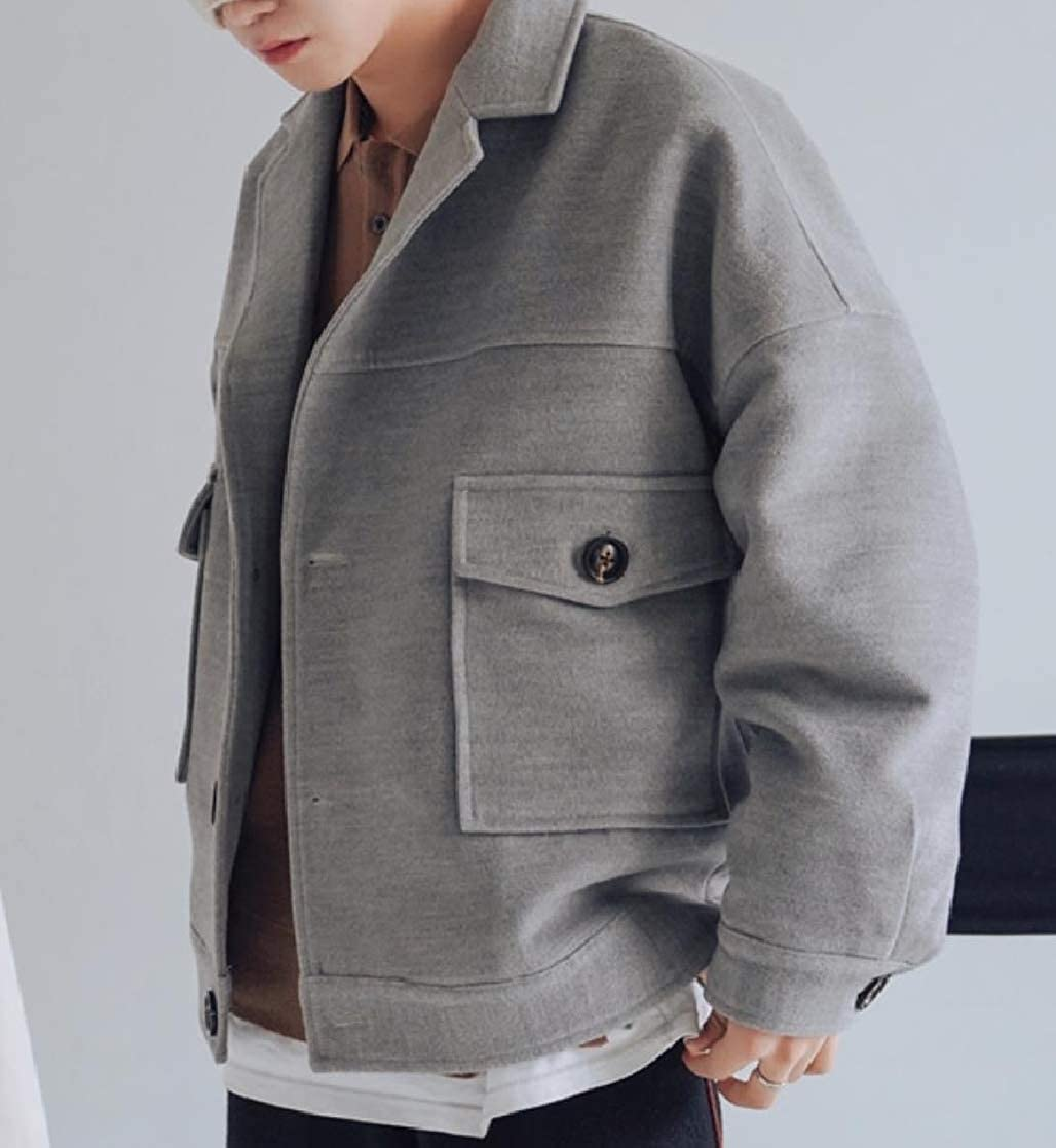 YUNY Mens Casual Short Pocket Relaxed Button Turn-Down Collar Coat Jacket Grey S