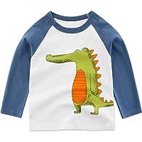 PAUBOLI Camiseta de manga larga para bebé, diseño de dinosaurio, cocodrilo, de algodón, de 1 a 8 años.