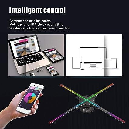 Proiettore olografico 3D a LED UE 56CM 4 ventole 616 perline lampada HD 3D 2.4Ghz Wifi Bluetooth Supporto per macchina pubblicitaria per proiezione olografica per controllo APP WIFI per iOS//Android