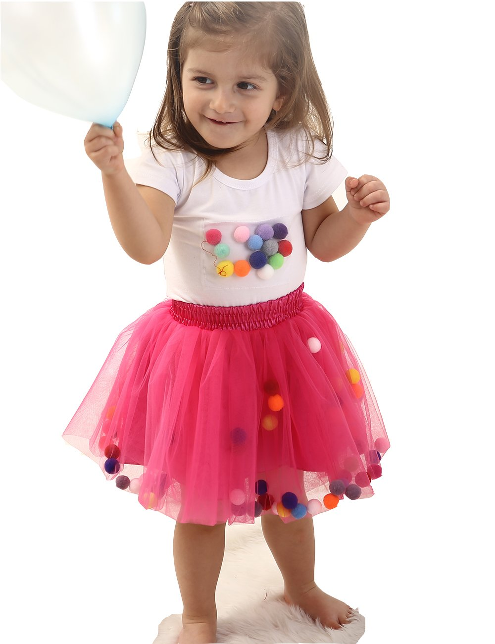 babae08d5 Baby Girls Tutu Skirt and Toddler T-Shirt Sleeve Top Outfit Set (L, Hot Pink )