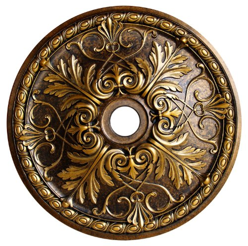 Fine Art Deco Golden Passion Hand Painted Ceiling Medallion 32-5/8 in. Finished in Antique Bronze and Olympic Gold
