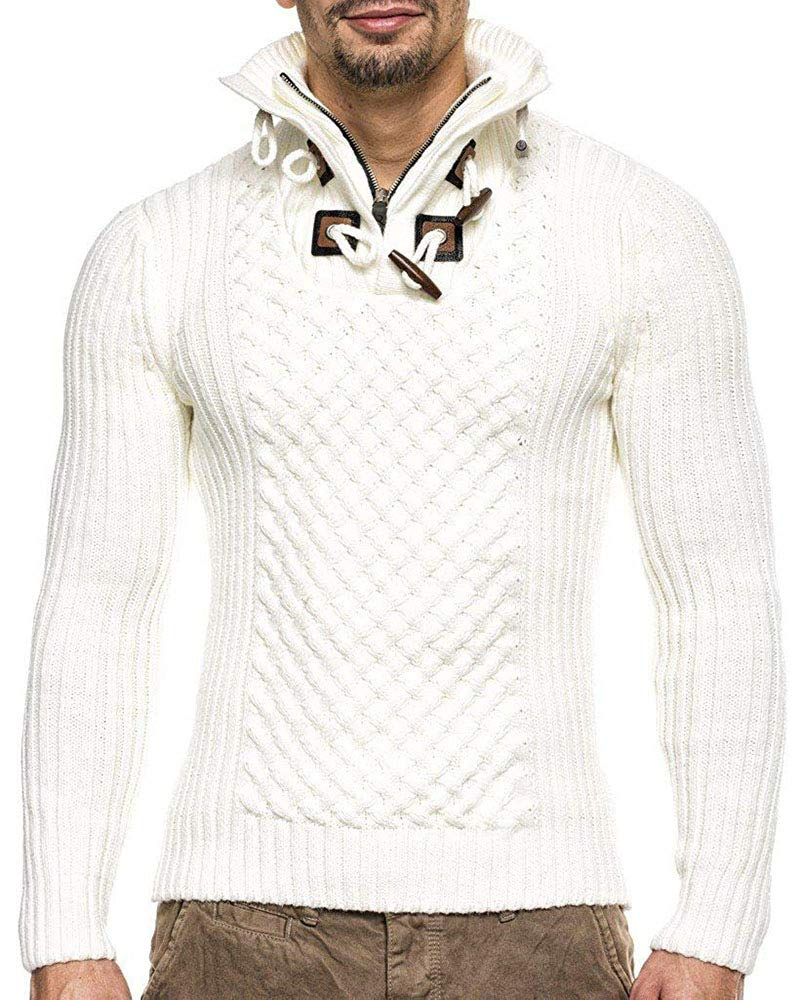 NiuBia Mens Turtle Neck Long Sleeve Sweater 1/4 Zip Pullover Knits Slim Fit Toggle Button Tops