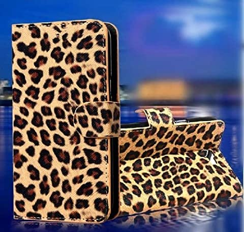 Wallet Leopard Skin Flip PU Leather Pouch Stand Case Cover For LG ULTIMATE 2 L41C / LG REALM LS620 (Lg L41c Phone Case Wallet)